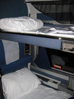 roomette with bunks folded down